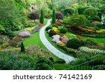 butchart garden in spring ... | Shutterstock . vector #74142169
