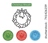 christmas wreath with bell icon ... | Shutterstock .eps vector #741426259