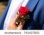 groom wedding boutonniere on...   Shutterstock . vector #741427831
