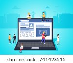 social network web site surfing ... | Shutterstock . vector #741428515
