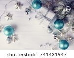 christmas decoration with gifts ... | Shutterstock . vector #741431947