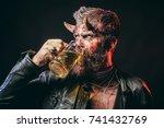 halloween hipster with satan... | Shutterstock . vector #741432769