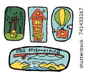 traveling icons set. colored... | Shutterstock .eps vector #741433267
