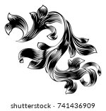 a floral filigree scroll... | Shutterstock .eps vector #741436909