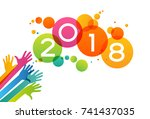 color design with numeral 2018  ... | Shutterstock .eps vector #741437035