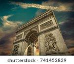 arc de triomphe in paris under... | Shutterstock . vector #741453829