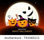 funny cute cartoon pumpkin... | Shutterstock .eps vector #741460111