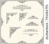 vintage borders and corners.... | Shutterstock .eps vector #741461791