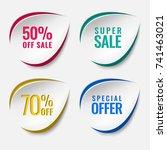 realistic sale discount sticker ... | Shutterstock .eps vector #741463021