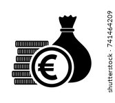 euro currency  money bag with... | Shutterstock .eps vector #741464209