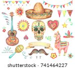watercolor set of mexican hand... | Shutterstock . vector #741464227