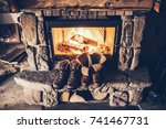 winter boots in front of a... | Shutterstock . vector #741467731