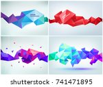 Vector set of faceted 3d crystal colorful shapes, banners. Faceted 3d shapes, crystal banners, horizontal orientation | Shutterstock vector #741471895