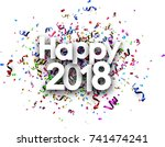 happy 2018 new year card with... | Shutterstock .eps vector #741474241