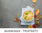 the perfect vegetarian dinner.... | Shutterstock . vector #741476371