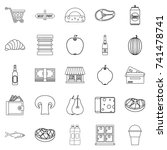 grocery icons set. outline set... | Shutterstock .eps vector #741478741