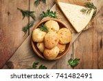 homemade cheese buns  rustic... | Shutterstock . vector #741482491