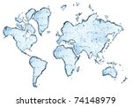 World Map From Water Splashes...