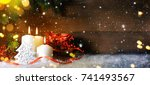 candels with christmas... | Shutterstock . vector #741493567
