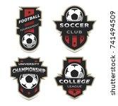 set of soccer football logo ... | Shutterstock .eps vector #741494509