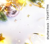 holiday background with... | Shutterstock . vector #741497794
