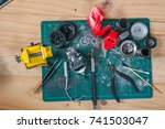 assembly of motocycle model | Shutterstock . vector #741503047