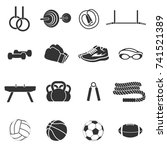 set of sports inventory. black... | Shutterstock . vector #741521389