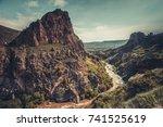 mountain river stream in canyon ... | Shutterstock . vector #741525619