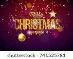 vector merry christmas... | Shutterstock .eps vector #741525781