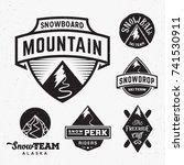 set of ski snowboard snow... | Shutterstock . vector #741530911