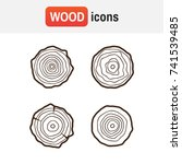 set of four tree rings icons.... | Shutterstock .eps vector #741539485