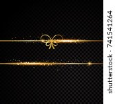 two golden lines with bow.... | Shutterstock .eps vector #741541264