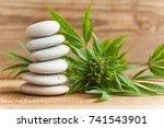 medicinal cannabis  wooden... | Shutterstock . vector #741543901