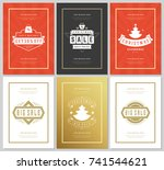 christmas sale flyers or... | Shutterstock .eps vector #741544621