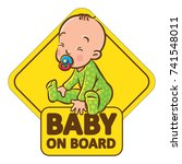 baby on board. funny small... | Shutterstock .eps vector #741548011
