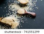 organic natural sesame seeds... | Shutterstock . vector #741551299
