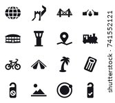 16 vector icon set   globe ... | Shutterstock .eps vector #741552121