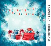 holiday christmas background... | Shutterstock .eps vector #741552931