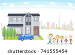 family 3 generations house... | Shutterstock .eps vector #741555454