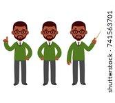 male african american teacher... | Shutterstock .eps vector #741563701