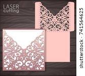 die laser cut wedding card... | Shutterstock .eps vector #741564625