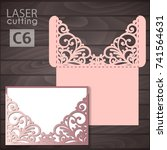 laser cut wedding invitation... | Shutterstock .eps vector #741564631