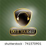gold badge or emblem with... | Shutterstock .eps vector #741570901
