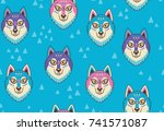 seamless pattern with huskys or ...   Shutterstock .eps vector #741571087