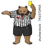 brown russian bear soccer... | Shutterstock . vector #741572905