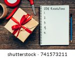 2018 resolutions text on... | Shutterstock . vector #741573211