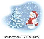 christmas card with funny... | Shutterstock . vector #741581899