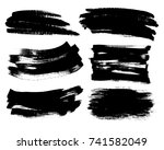 set of black paint  ink brush... | Shutterstock .eps vector #741582049