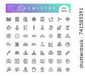 set of 56 chemistry line icons... | Shutterstock .eps vector #741585391