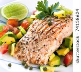 Grilled Atlantic Salmon With A...